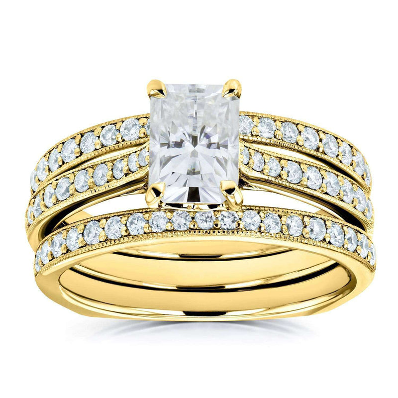 Kobelli Radiant Moissanite and Diamond Square Shank Trellis 3-Piece Bridal Rings Set 1 4/5 TCW 14k Yellow Gold