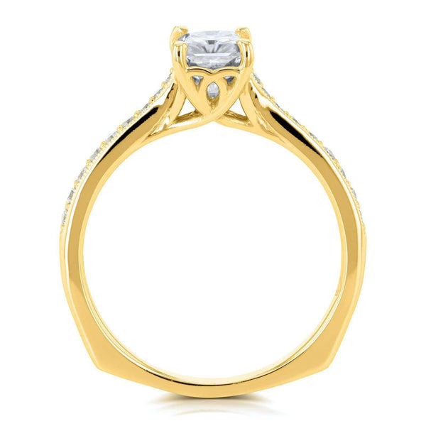 Kobelli Radiant Moissanite (HI) and Diamond Vintage Trellis Engagement Ring 1 2/5 CTW 14k Yellow Gold