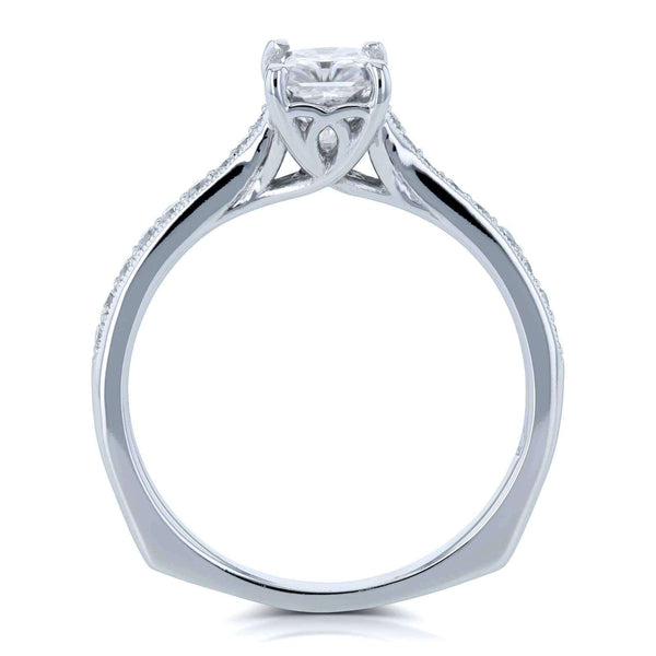 Kobelli Radiant Moissanite (HI) and Diamond Vintage Trellis Engagement Ring 1 2/5 CTW 14k White Gold
