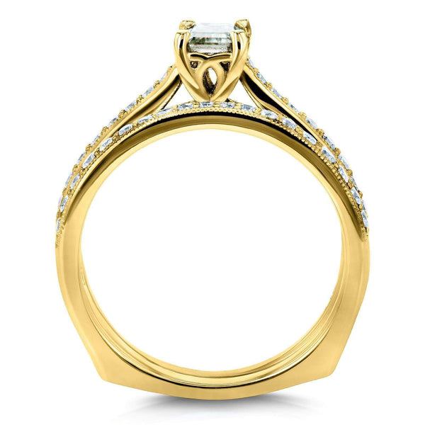 Kobelli Emerald Moissanite and Diamond Square European Shank Vintage Trellis Bridal Set 1 CTW 14k Yellow Gold