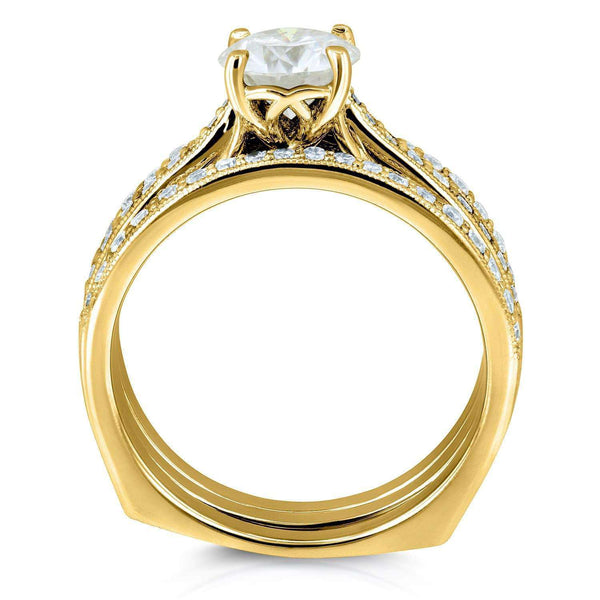 Kobelli Round Moissanite and Diamond Square European Shank Vintage Trellis Bridal Set 1 3/5 CTW 14k Yellow Gold