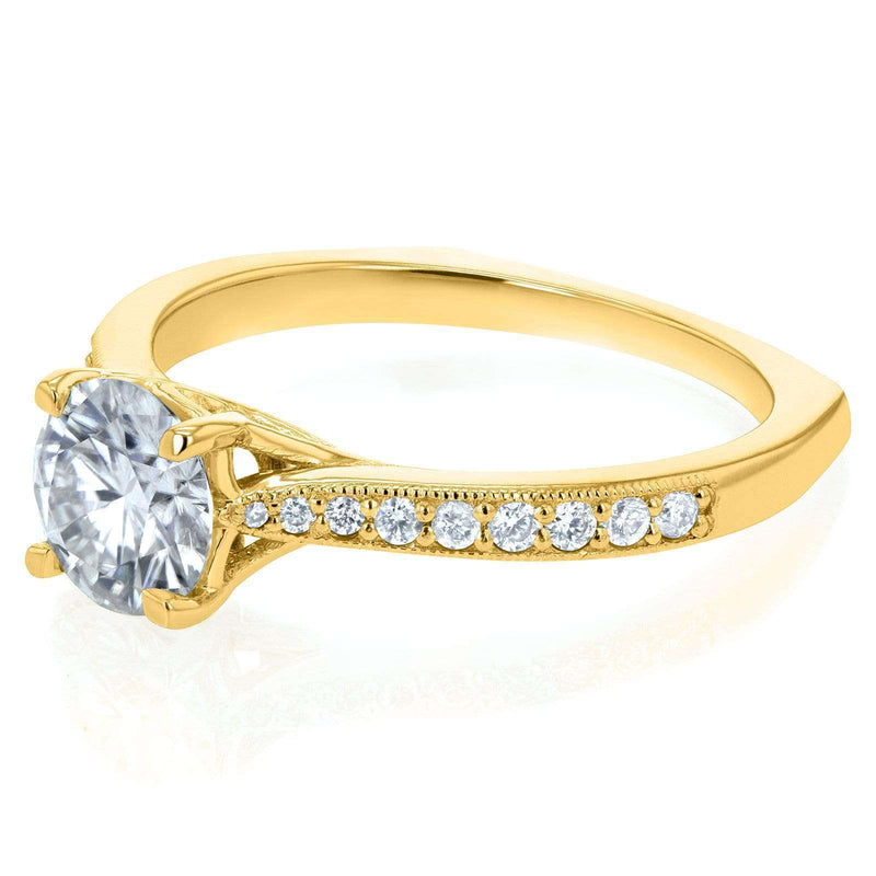 Kobelli Round Moissanite (HI) and Diamond Vintage Trellis Engagement Ring 1 1/5 CTW 14k Yellow Gold