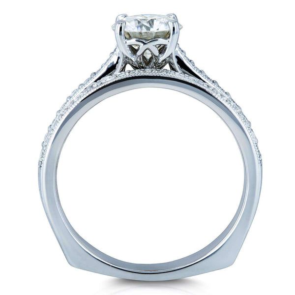 Kobelli Round Moissanite and Diamond Square European Shank Vintage Trellis Bridal Set 1 3/5 CTW 14k White Gold