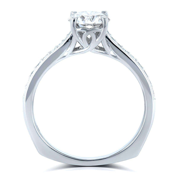 Kobelli Round Moissanite (HI) and Diamond Vintage Trellis Engagement Ring 1 1/5 CTW 14k White Gold