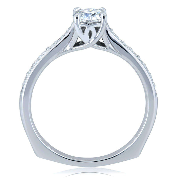 Kobelli Round Moissanite and Diamond Square Shank Trellis Engagement Ring 5/8 CTW 14k White Gold (HI/VS, GH/I)