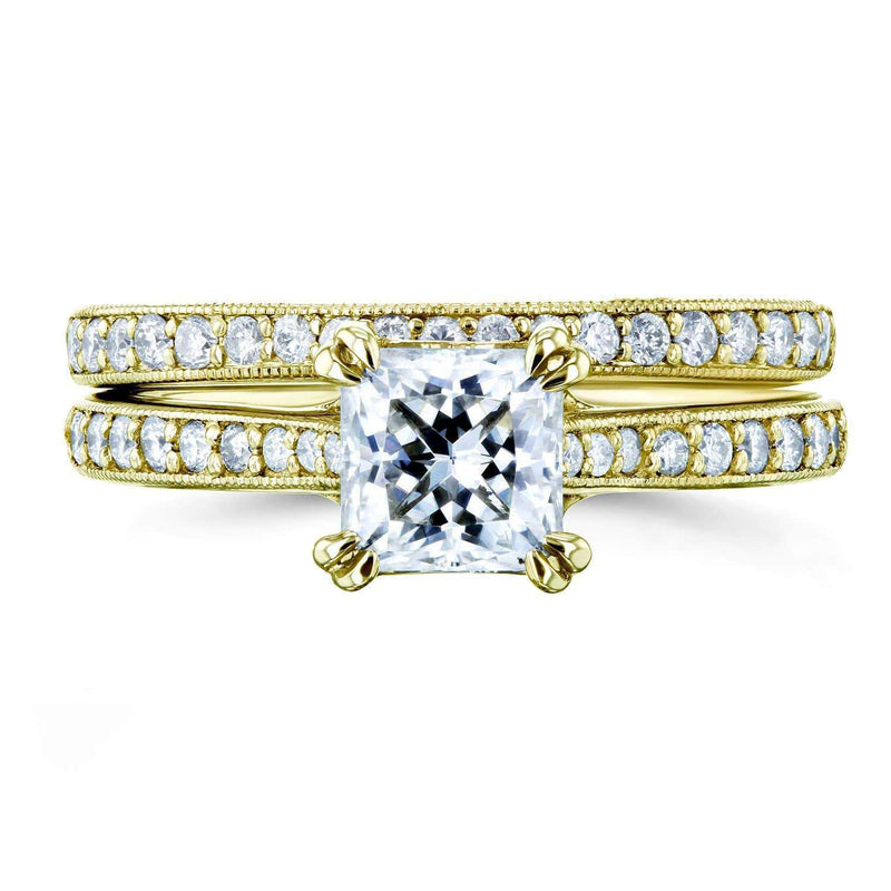 Kobelli Princess Moissanite and Diamond Square Shank Trellis Wedding Rings 1 1/3 CTW 14k Yellow Gold (HI/VS, GH/I)