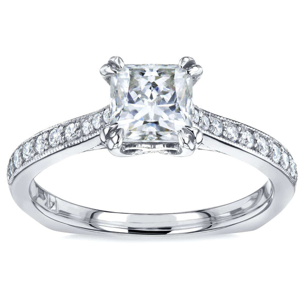 Kobelli Princess Moissanite and Diamond Square Shank Trellis Engagement Ring  1 1/10 CTW 14k White Gold (HI/VS, GH/I)