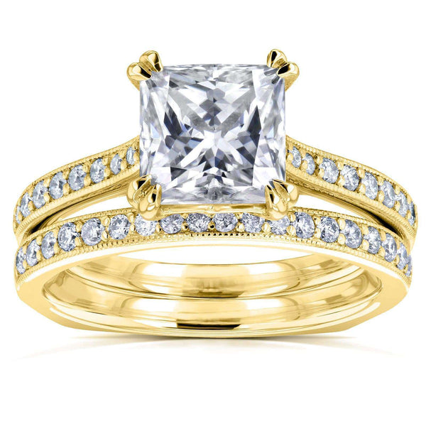 Kobelli Princess Moissanite and Diamond Square Shank Trellis Bridal Set  2 1/3 CTW 14k Yellow Gold (HI/VS, GH/I)