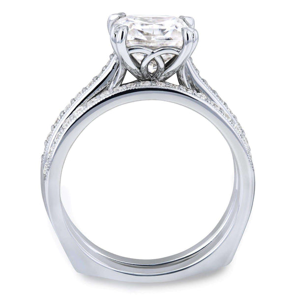 Kobelli Princess Moissanite and Diamond Square Shank Trellis Bridal Set  2 1/3 CTW 14k White Gold (HI/VS, GH/I)