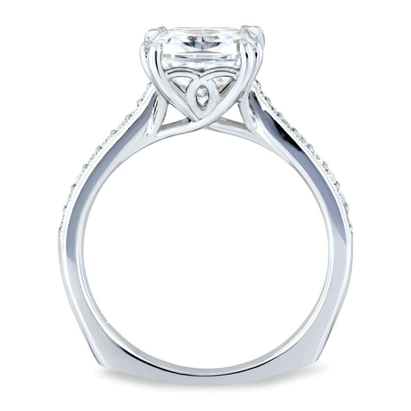 Kobelli Princess Moissanite and Diamond Square Shank Trellis Engagement Ring  2 1/10 CTW 14k White Gold (HI/VS, GH/I)