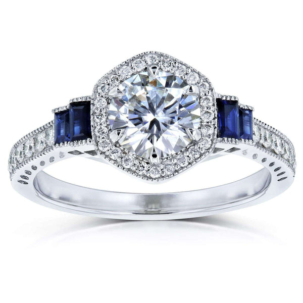 Kobelli Moissanite Sapphire and Diamond 6-prong Halo Art Deco Ring 1 1/2 CTW 14k White Gold (HI/VS, Blue, GH/I)