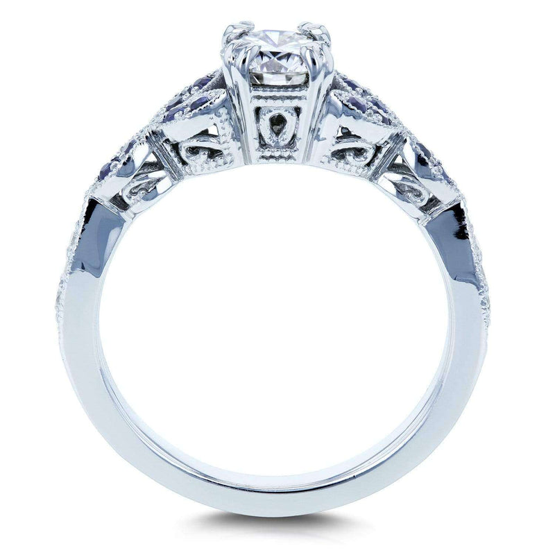 Round Moissanite with Blue Sapphire and Diamond Accents Leafy Engagement Ring 5/8 CTW 14k White Gold (GH/VS, GH/I)