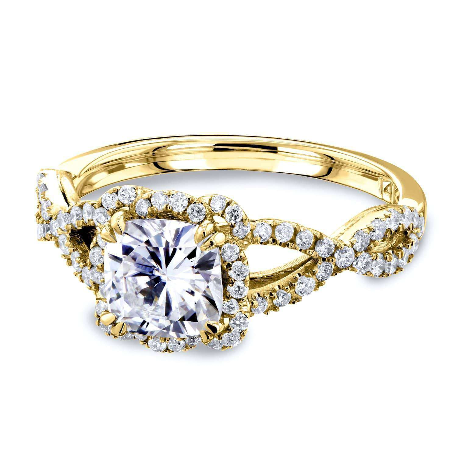 Best Cushion Moissanite and Diamond Fancy Halo Cross Shank Ring 1-2/5 CTW 14k Gold - yellow-gold 4.5 Kobelli F-G