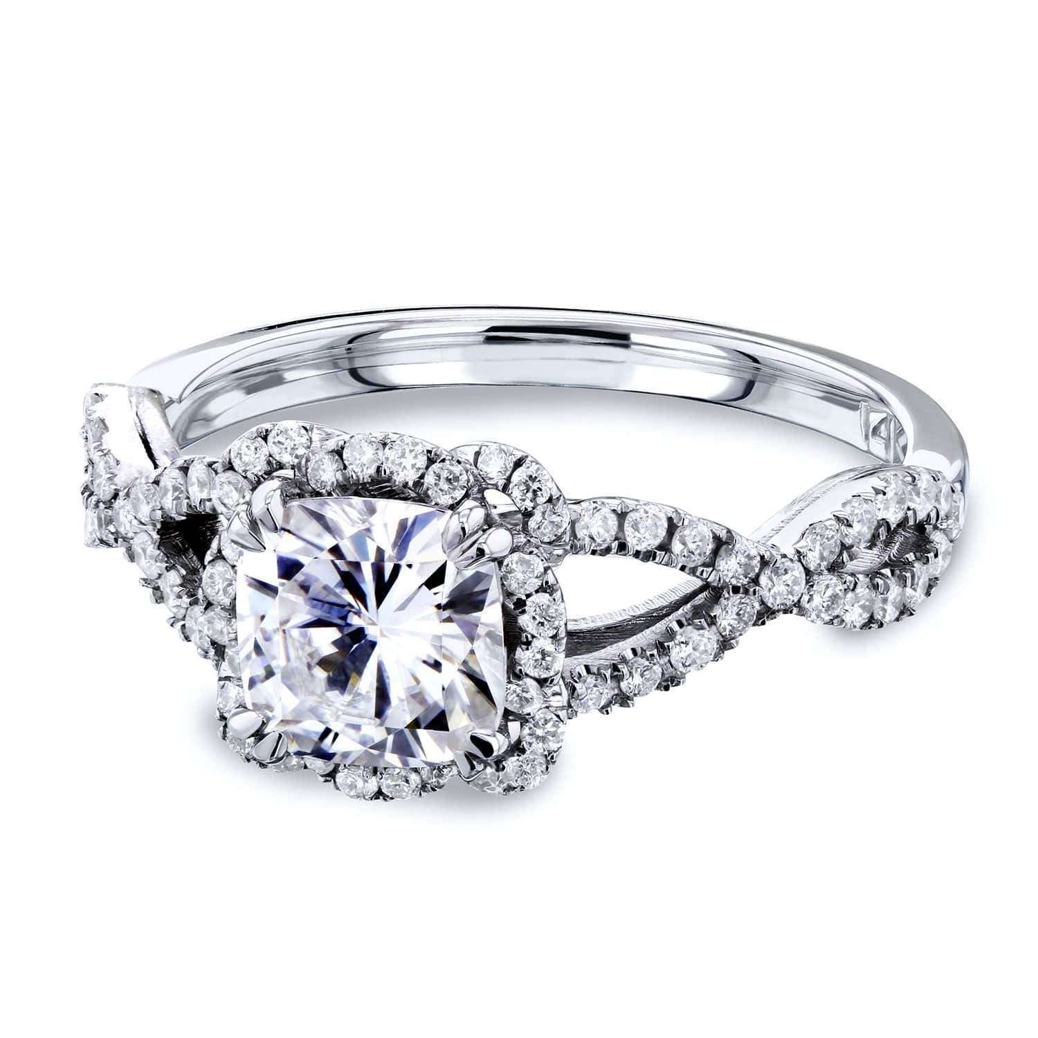 Promos Cushion Moissanite and Diamond Fancy Halo Cross Shank Ring 1-2/5 CTW 14k Gold - white-gold 10.5 Kobelli F-G