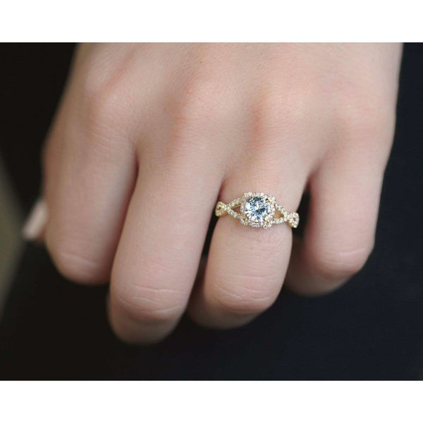 Kobelli Round Moissanite Fancy Halo Cross Shank Ring