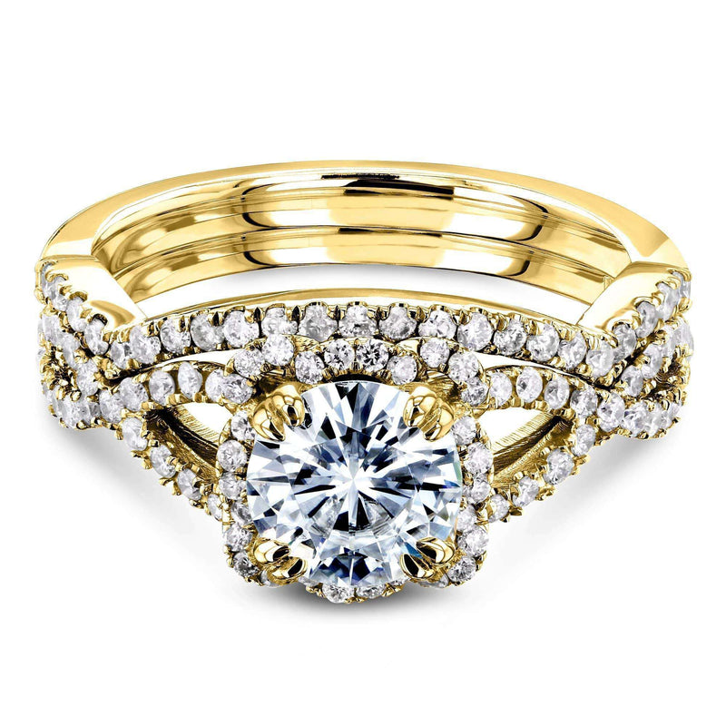 Kobelli Round Forever One Moissanite Halo Cross Shank Gold Bridal Set