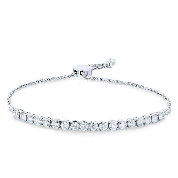 "Kobelli Moissanite Bolo Strand Bracelet 2 7/8 CTW 14k White Gold, Adjustable Length, 10.5"" Extended MZ62476-W"
