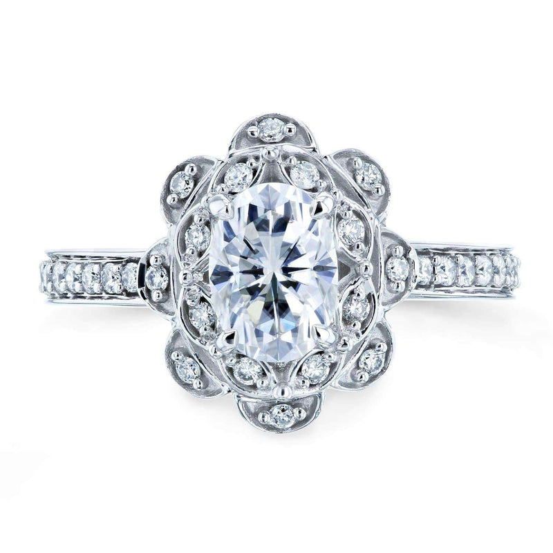 Kobelli Oval Moissanite and Diamond Halo Floral Vintage Engagement Ring 1 1/6 CTW 14k White Gold (HI/VS, GH/I)