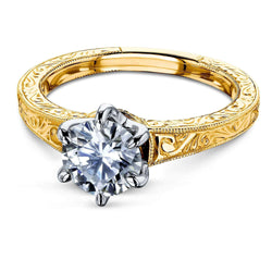 Kobelli Vintage 6-Prong 1 Carat Solitaire Moissanite Ring - Multiple Gold Options MZ62514R-E/4.5Y