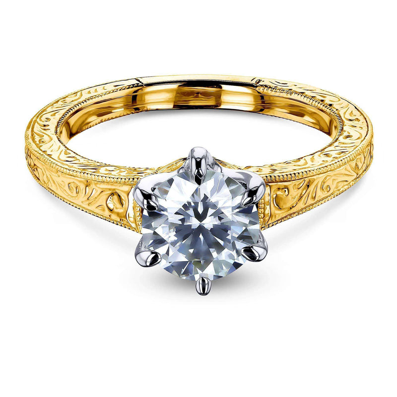 Kobelli Vintage 6-Prong 1 Carat Solitaire Moissanite Ring - Multiple Gold Options