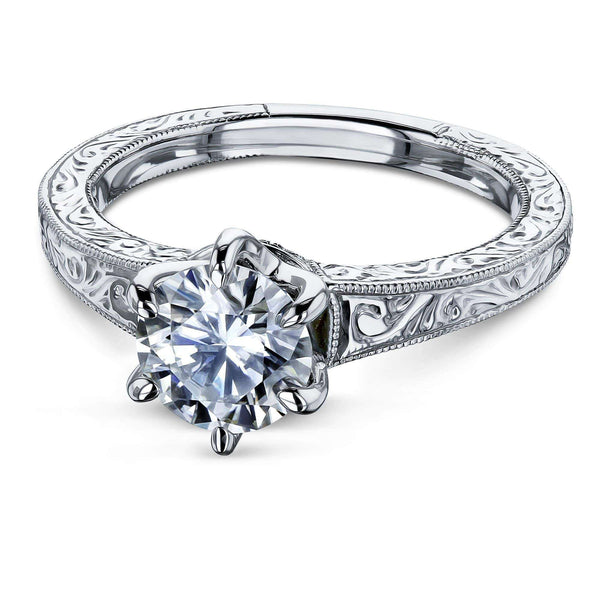 Kobelli Vintage 6-Prong 1 Carat Solitaire Forever One Moissanite Ring (Multiple Gold Options) MZFO62514R-E/4.5W