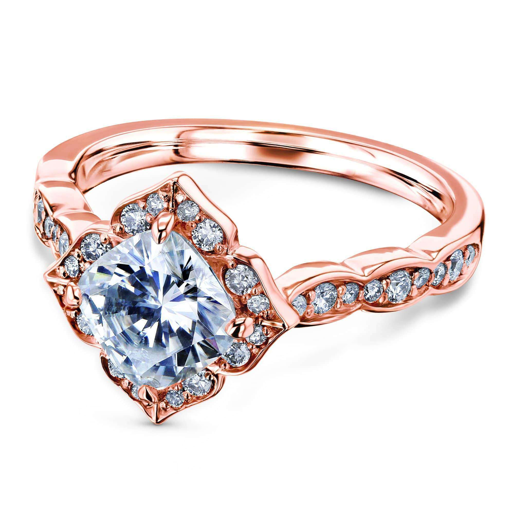 Compare Cushion Moissanite Floral Halo Ring (1 1/3 CTW) - rose-gold 9.5 Kobelli H-I