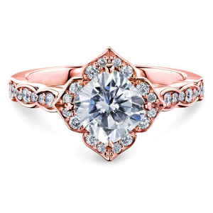 Forever One Cushion Moissanite Floral Halo Ring (1 1/3 CTW)