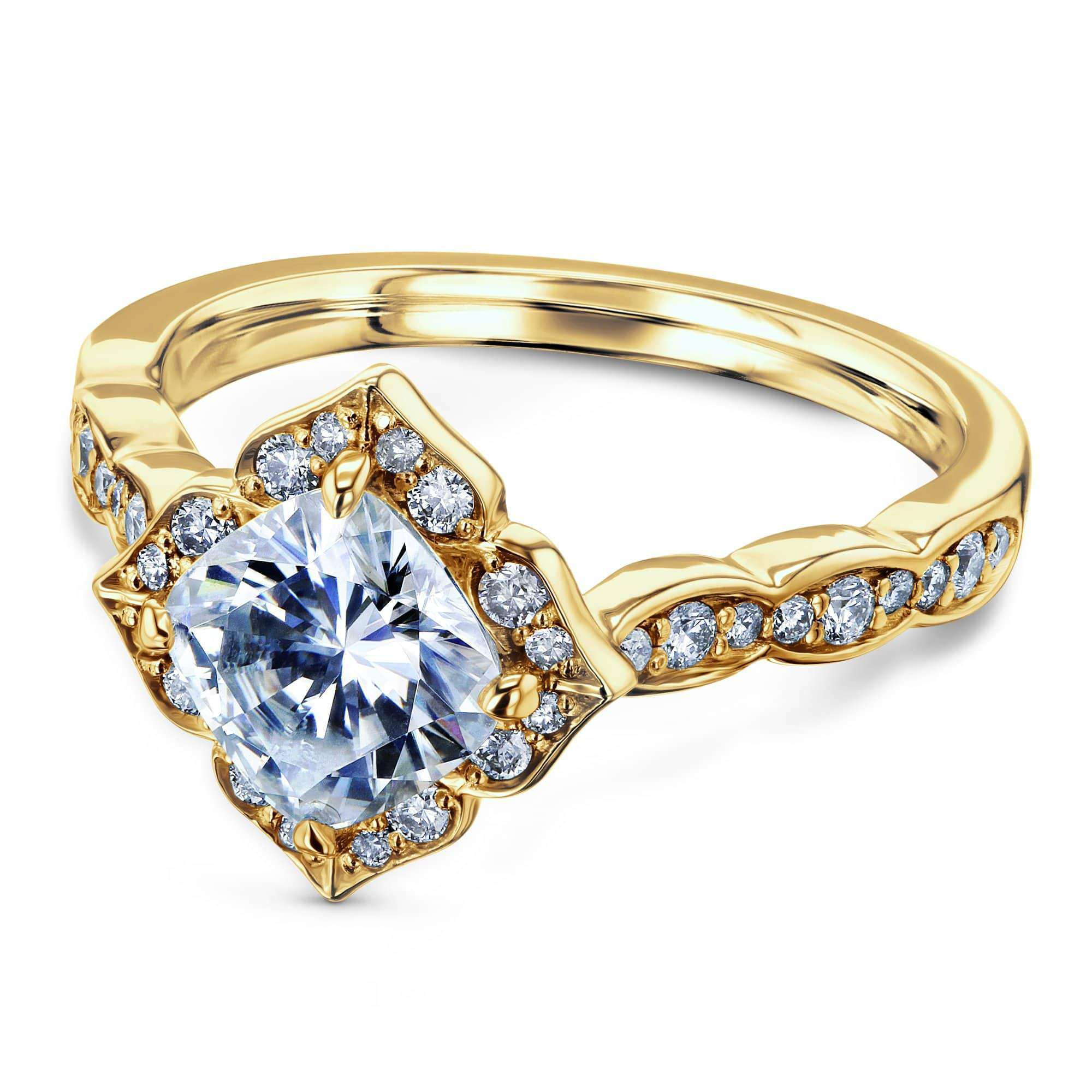 Cheap Cushion Moissanite Floral Halo Ring (1 1/3 CTW) - yellow-gold 5 Kobelli H-I