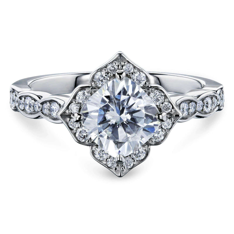 Kobelli Cushion Moissanite Floral Halo Ring (1 1/3 CTW)