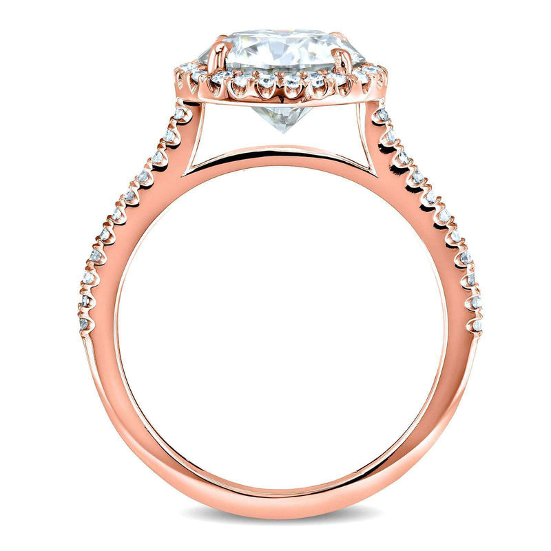 Kobelli Round Brilliant Kobelli Moissanite and Diamond Halo Engagement Ring 2 1/6 CTW 14k Rose Gold