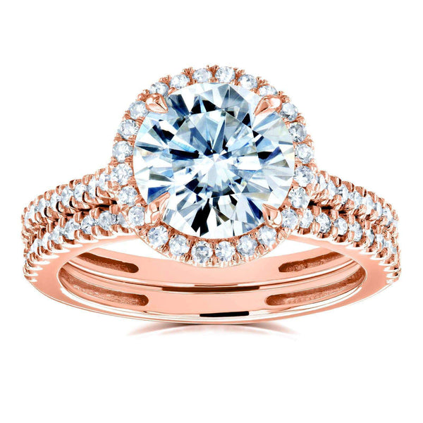 Kobelli Round Brilliant Moissanite and Diamond Halo Bridal Wedding Rings Set 2 1/3 CTW 14k Rose Gold