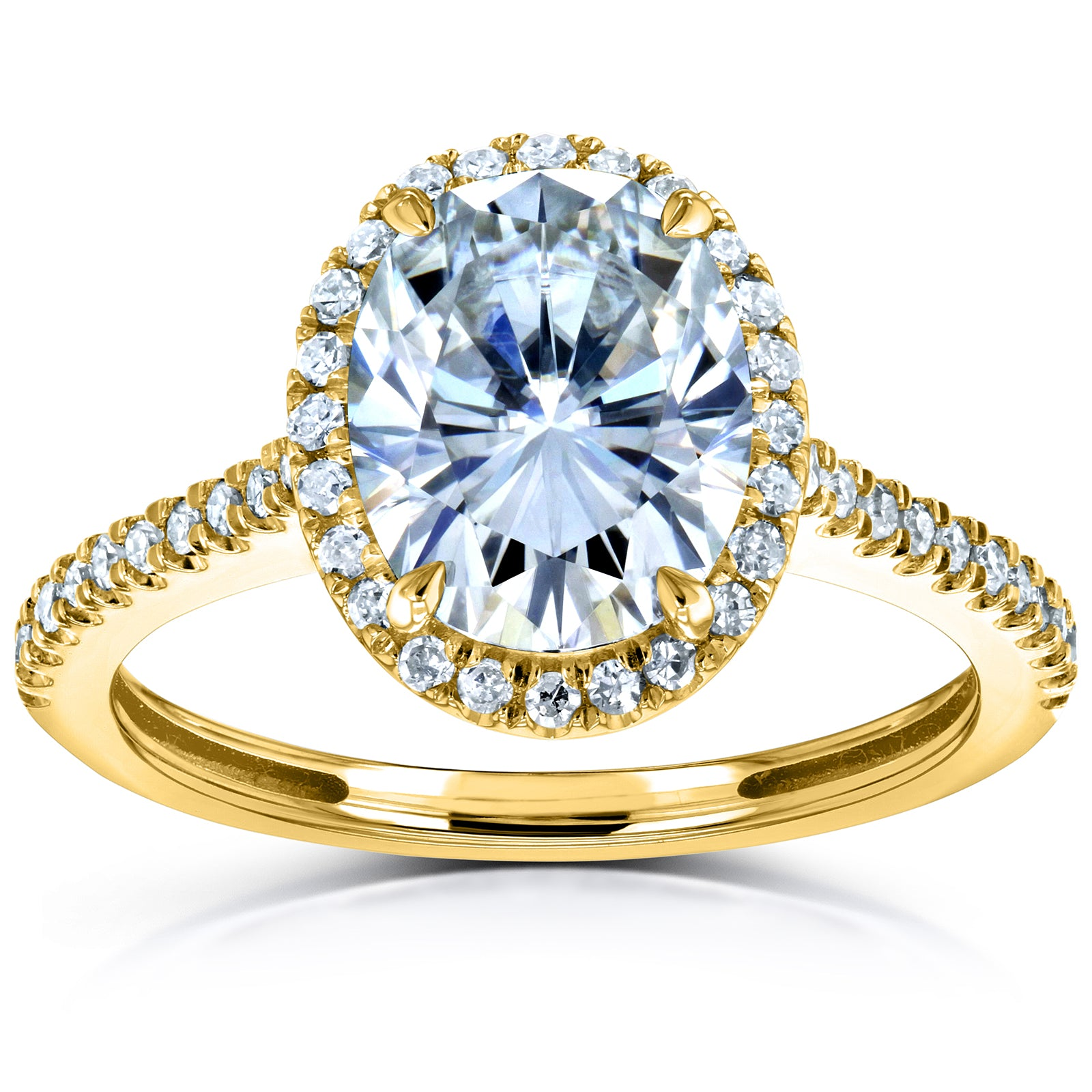 Discounts Oval Moissanite and Diamond Halo Engagement Ring 2 1/4 CTW 14k Gold - 5.0 yellow-gold Kobelli H-I