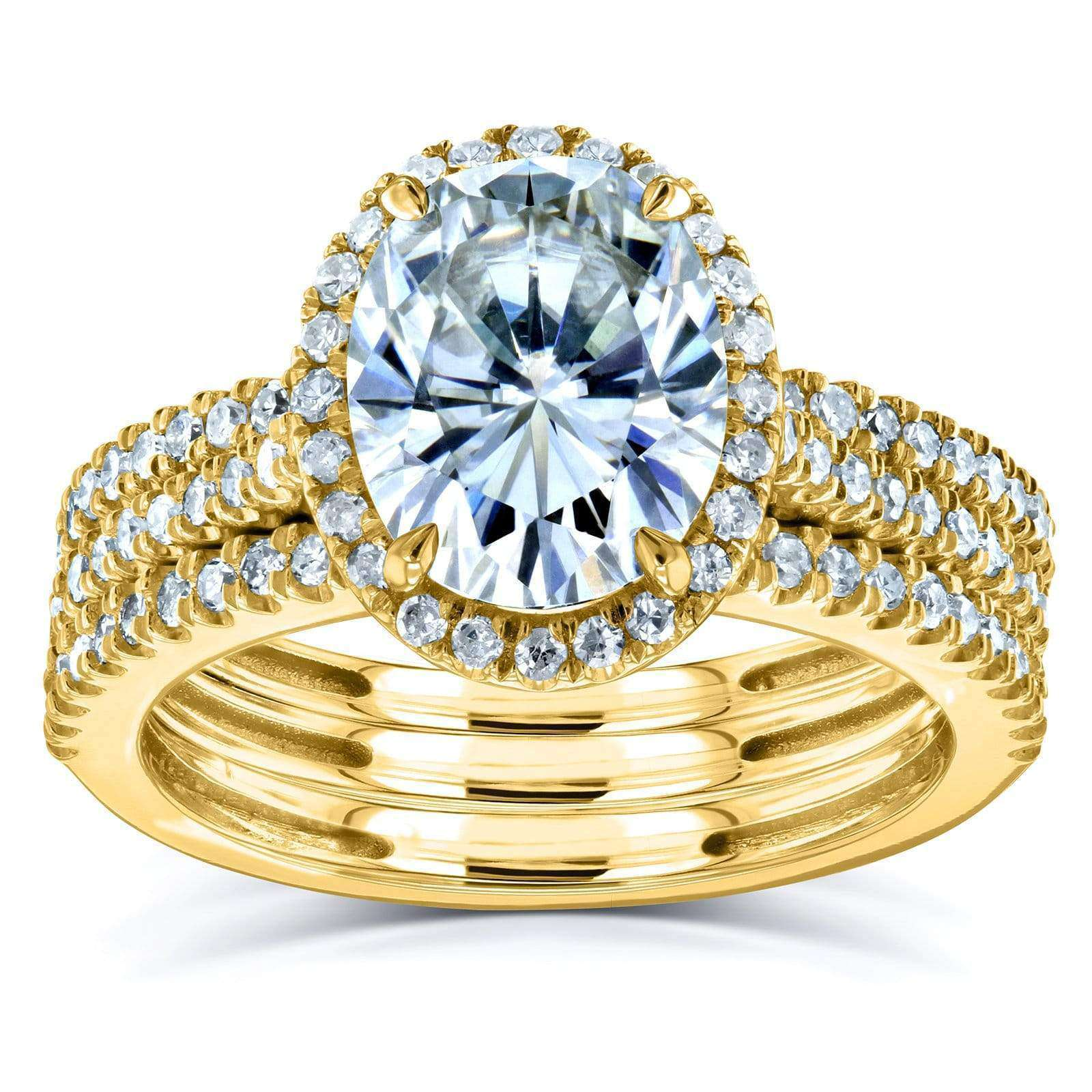 Compare Oval Moissanite and Diamond Halo 3-Piece Bridal Rings Set 2 1/2 CTW 14k Yellow Gold - 6.5