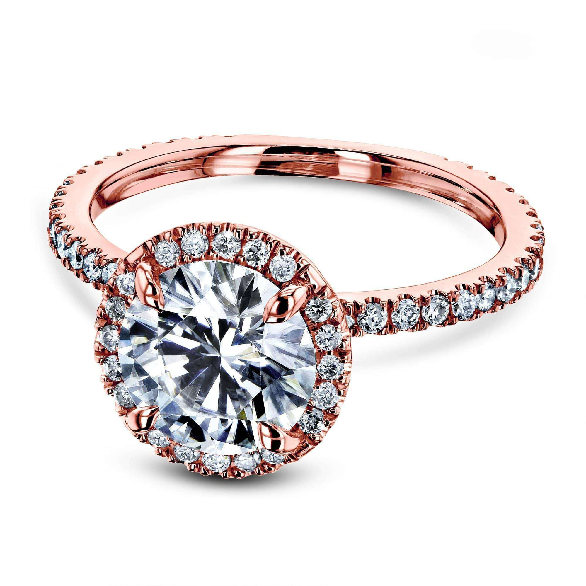 Cheap Prong Accented Forever One Moissanite Floating Halo - rose-gold 4.5