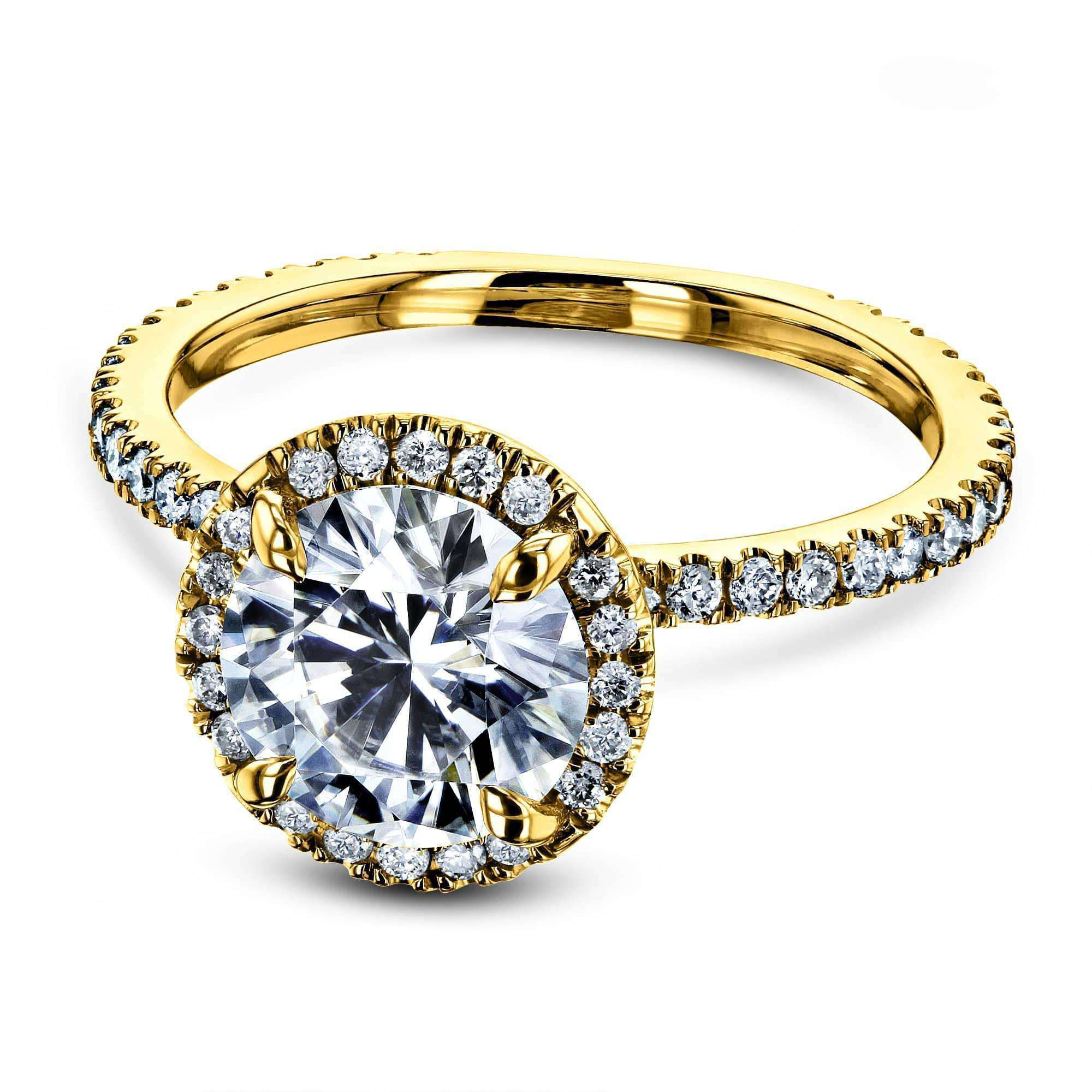 Reviews Prong Accented Forever One Moissanite Floating Halo - yellow-gold 8