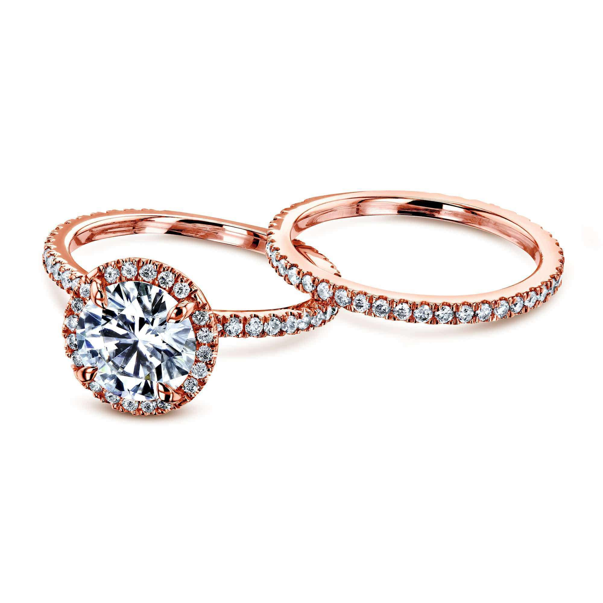 Top Prong Accented 2 1/5 CTW Floating Halo Bridal - rose-gold 7 Kobelli F-G