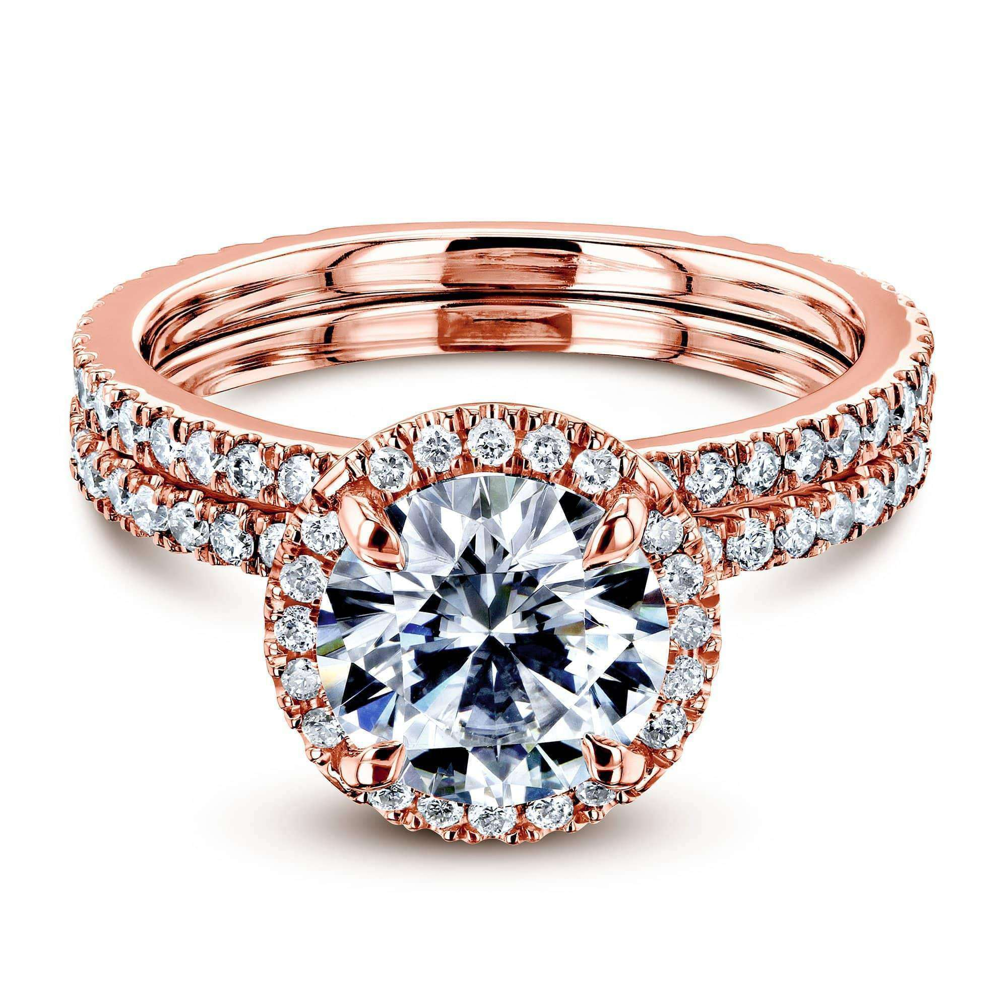 Coupons Prong Accented Forever One Moissanite Floating Halo Bridal - rose-gold 7.5