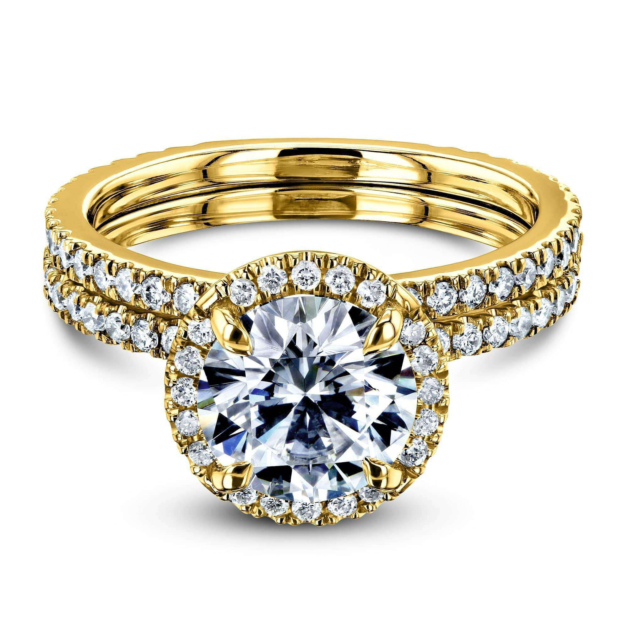 Cheap Prong Accented Forever One Moissanite Floating Halo Bridal - yellow-gold 7