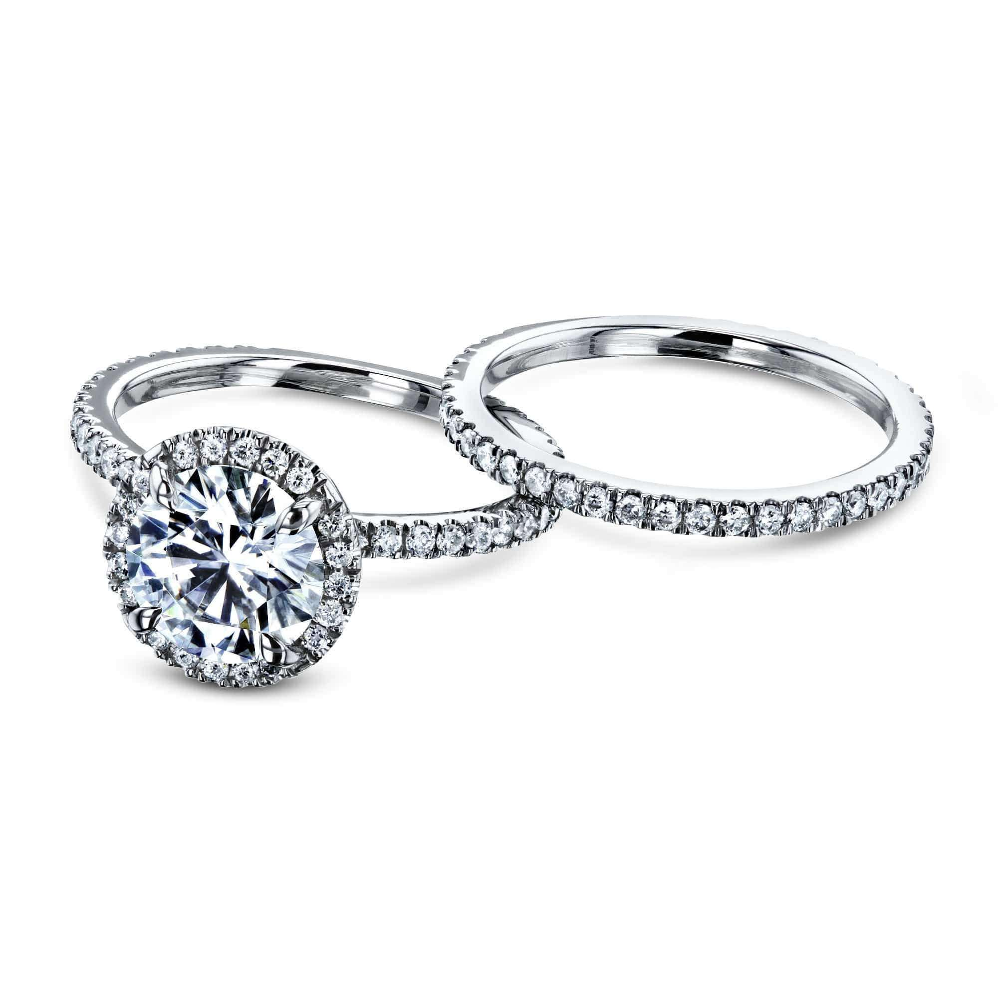 Compare Prong Accented 2 1/5 CTW Floating Halo Bridal - white-gold 9 Kobelli F-G