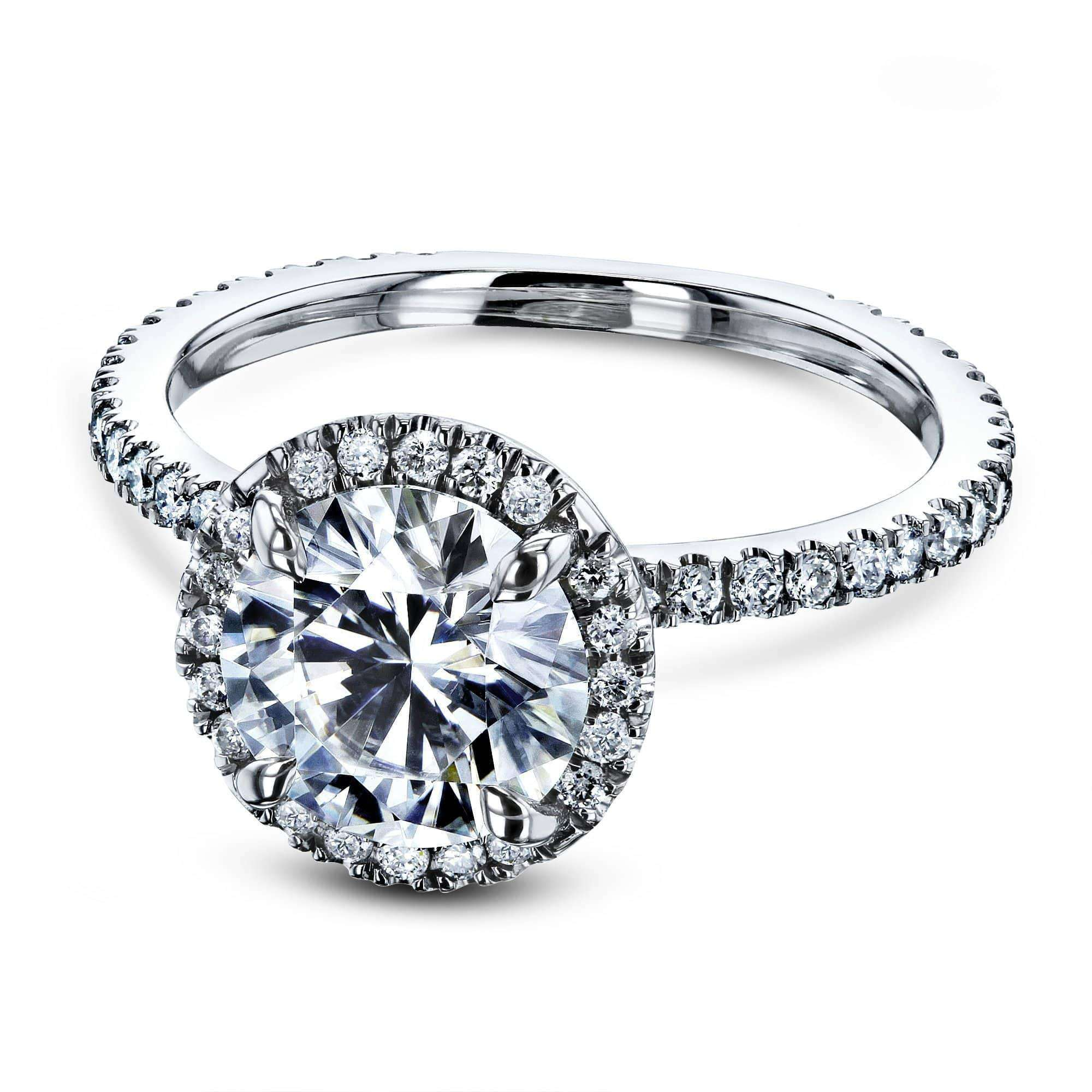 Top Prong Accented Forever One Moissanite Floating Halo - white-gold 5.5