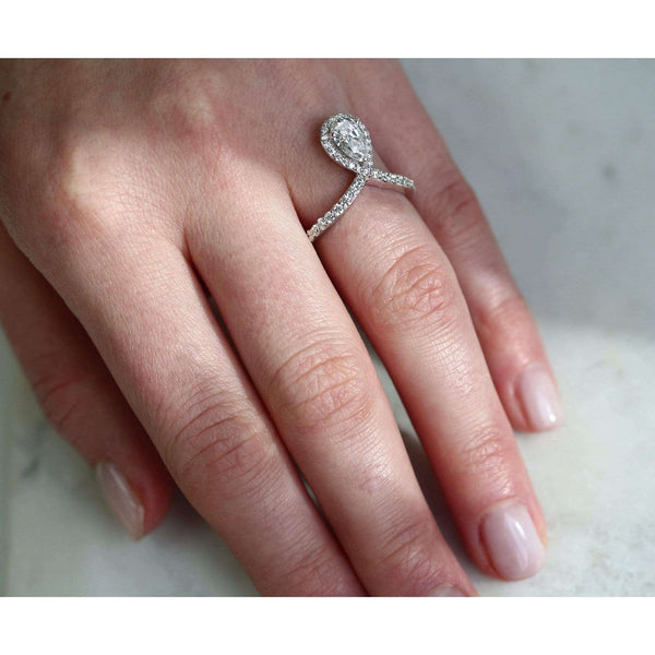 Kobelli Pear Drop Diamond V-Shape Ring