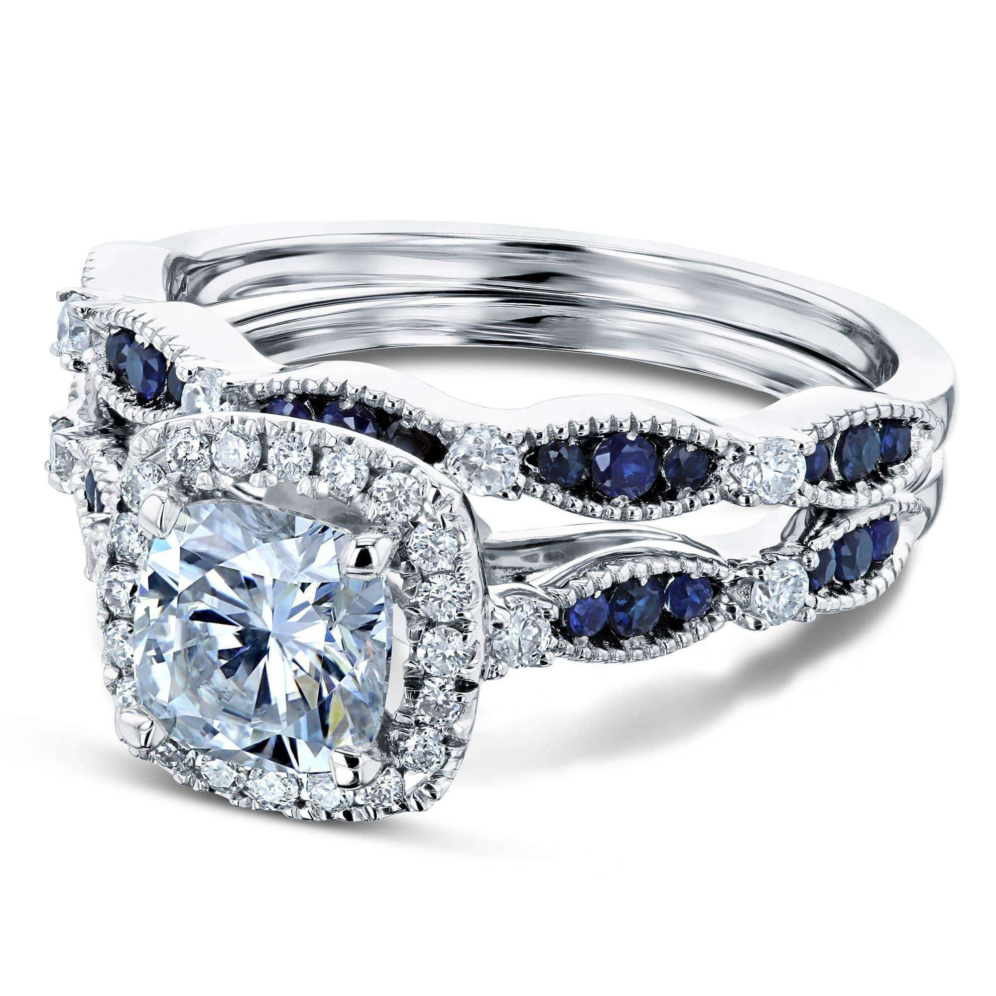 Best Moissanite and Blue Sapphire Halo Bridal Rings Set - 11 Forever One D-E-F