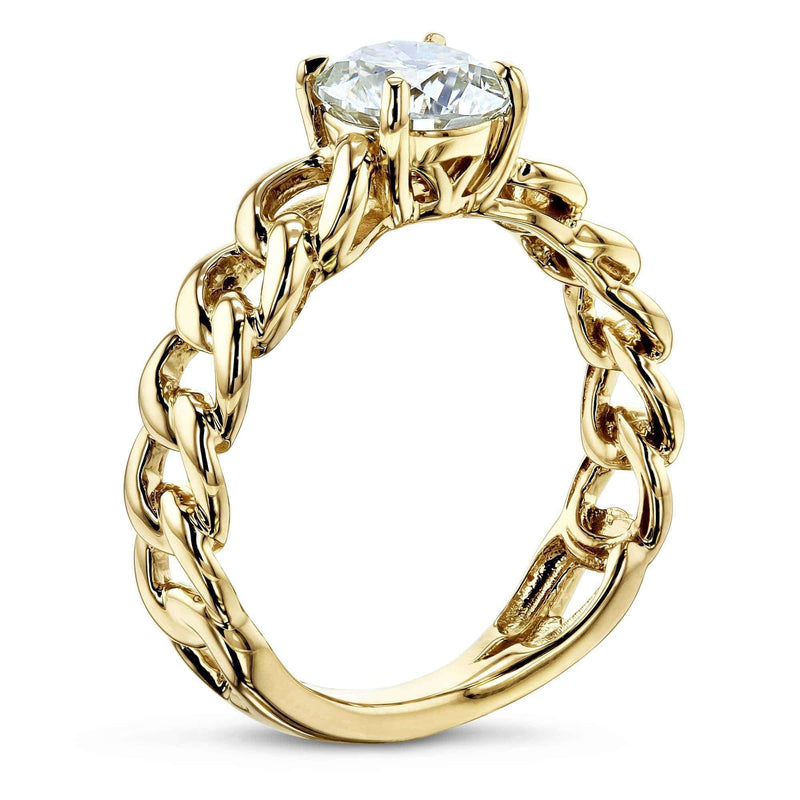 Kobelli Gold Chain Links 8mm Moissanite Ring