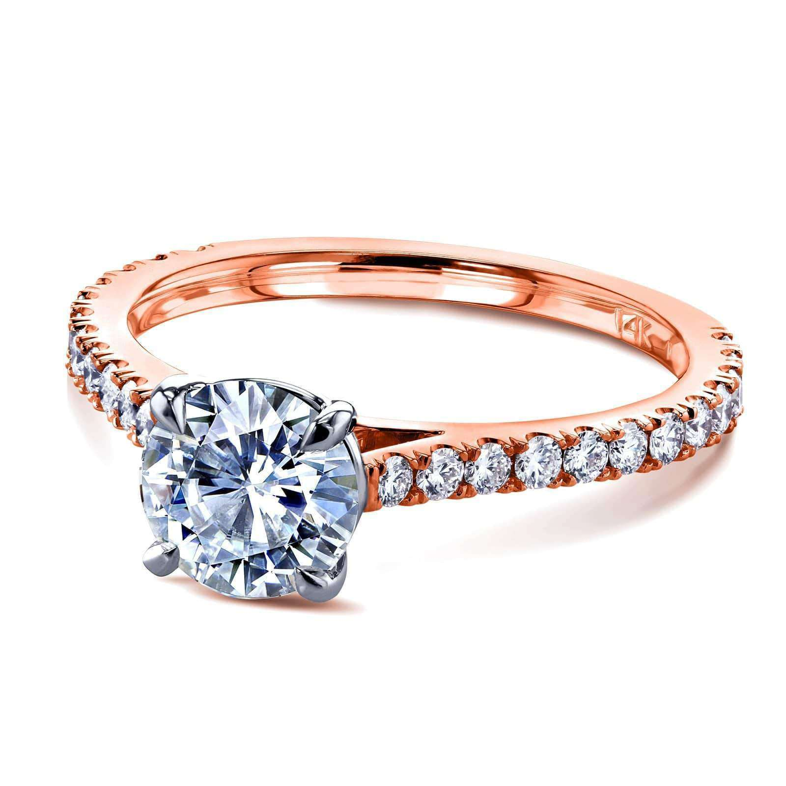 Compare 1ct Moissanite Peg Cathedral Gold Ring - rose-gold 9 Kobelli F-G