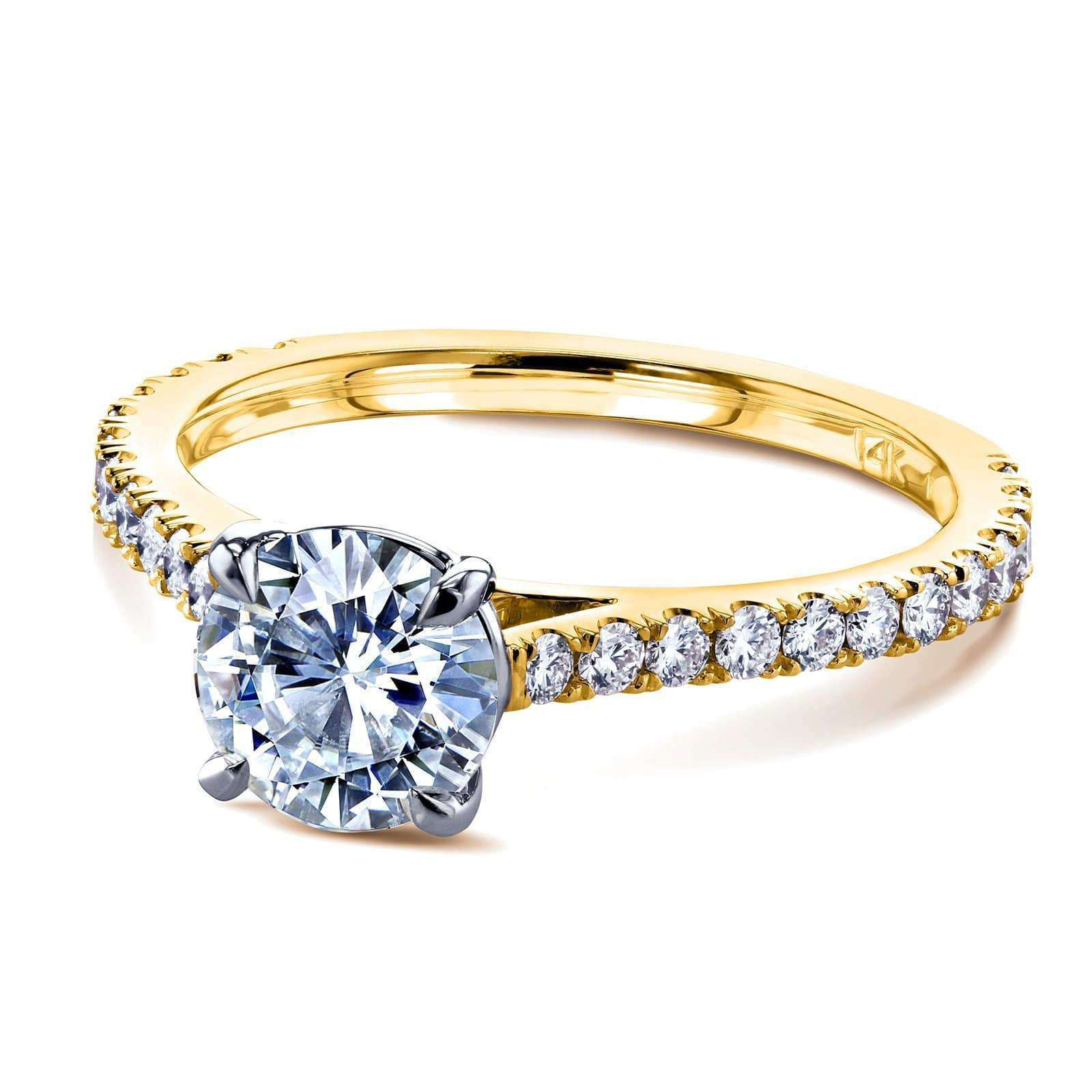 Compare 1ct Moissanite Peg Cathedral Gold Ring - yellow-gold 7.5 Kobelli H-I