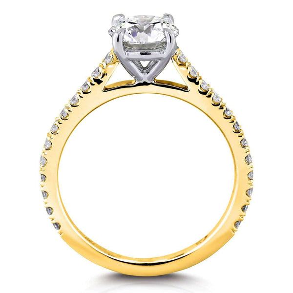 Kobelli 1ct Moissanite Peg Cathedral Gold Ring
