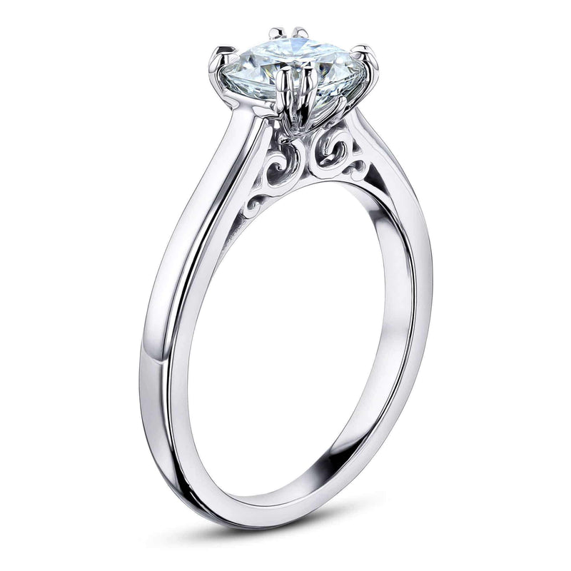 Kobelli 1ct Cushion Moissanite Solitaire W-Prong Ring