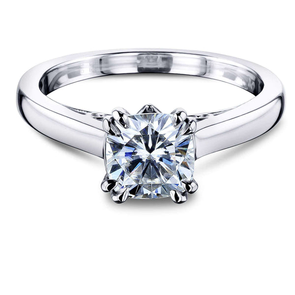 Kobelli 1ct Cushion Forever One Moissanite Solitaire W-Prong Ring MZFO62642CU-1E/4.5W