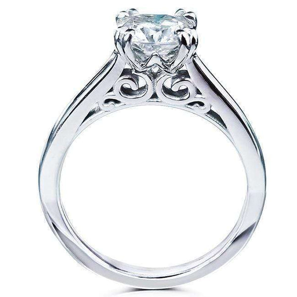 Kobelli 1ct Cushion Forever One Moissanite Solitaire W-Prong Ring