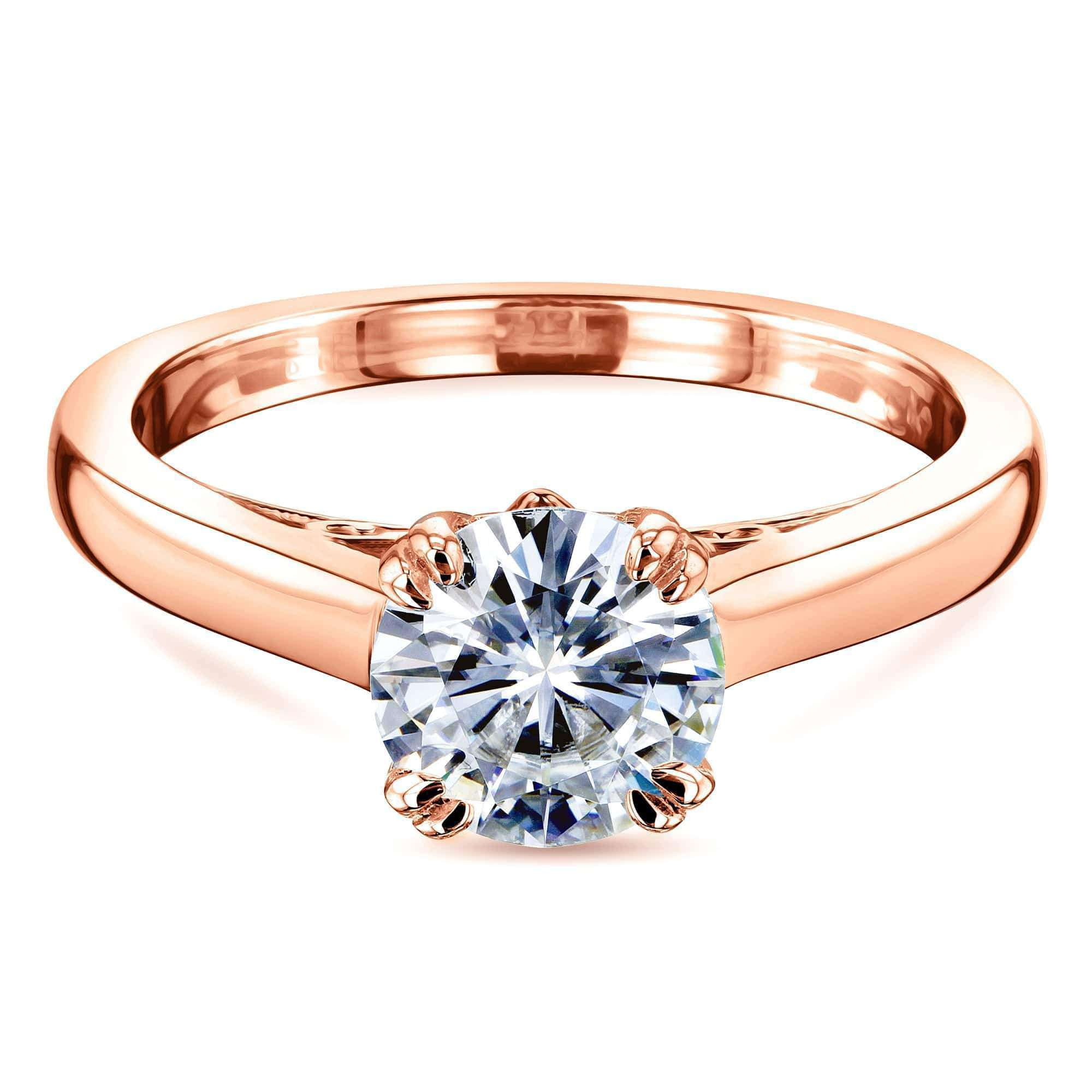 Compare 1ct Round Forever One Moissanite Solitaire W-Prong Ring - rose-gold 6.5
